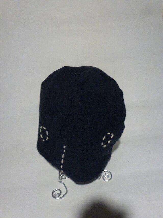 男女兼用リバーブルニット刺繍ストレッチ帽子紺×杢グレーの画像1枚目