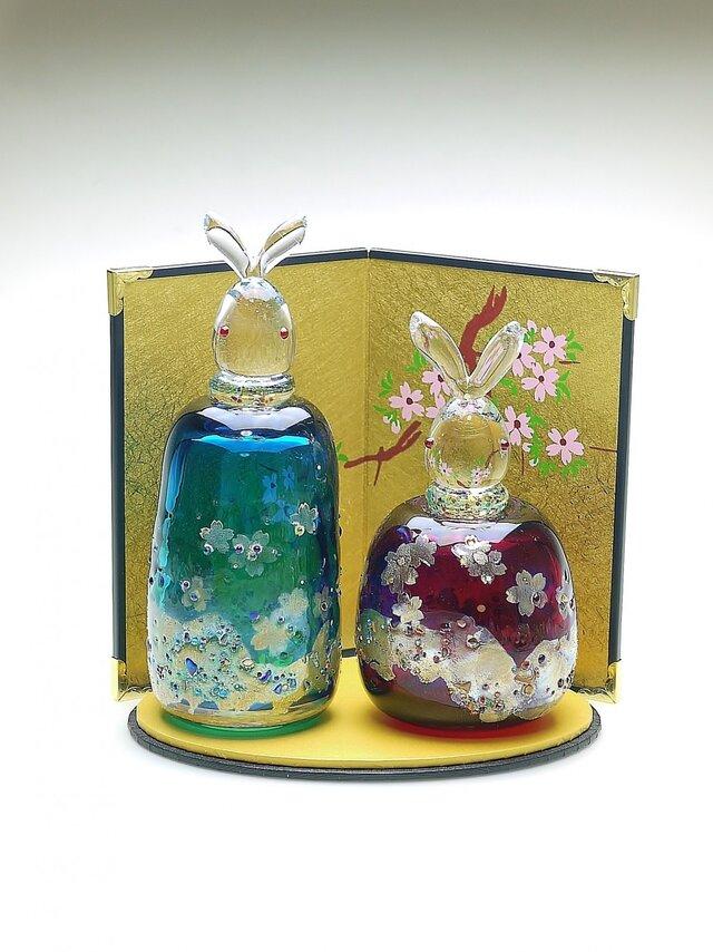 うさぎ雛 桜 (青緑・赤)の画像1枚目