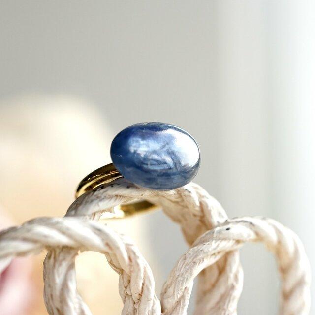 フリーサイズ★オーバルカイヤナイトのリング ~Mercedeの画像1枚目