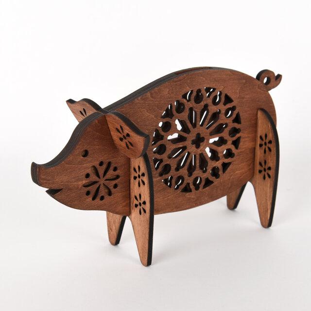 ブタの貯金箱(木製バンク) の画像1枚目