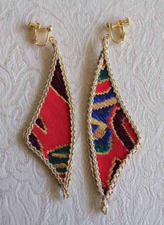 羽のイヤリング(京都西陣織)243の画像1枚目