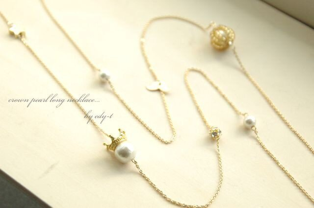 crown pearl long necklaceの画像1枚目