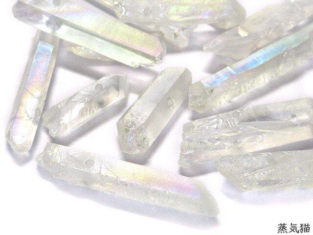 天然水晶 オーロラ 12g【通し穴付 水晶パーツ 天然石 クリスタル素材】の画像1枚目