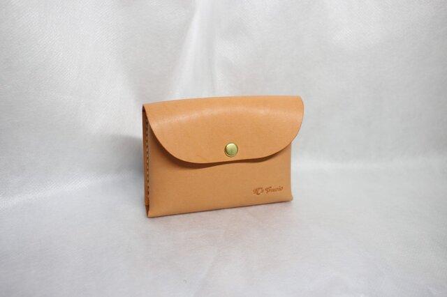 ヌメ革 一枚革で作る手縫いのカードケース(オレンジ色)の画像1枚目