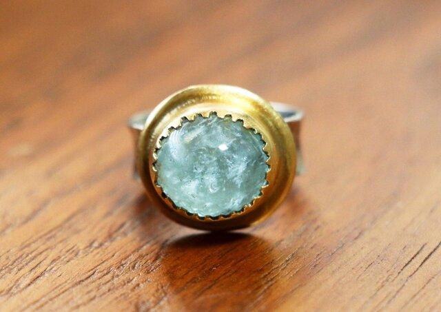 古代スタイル*アクアマリン 指輪*10.5号 スターリングシルバーの画像1枚目