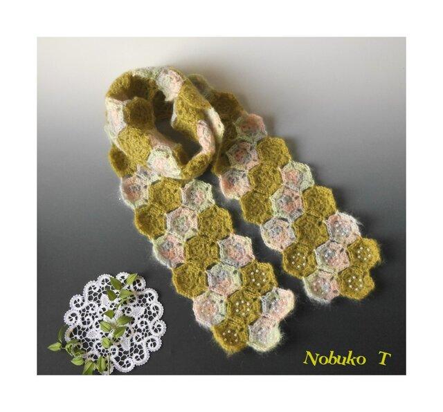 【春色】さくら&抹茶色のモヘアモチーフマフラーの画像1枚目