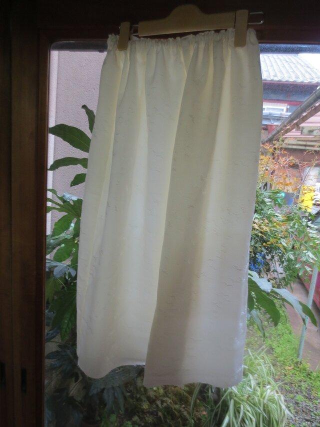 着物リメイク地模様生成長襦袢絹ペチコート☆脇スリット☆丈ご希望での画像1枚目