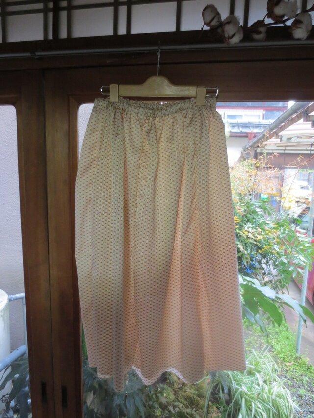 着物リメイク☆麻の葉模様長襦袢でペチコート♪丈はご希望で・・・の画像1枚目
