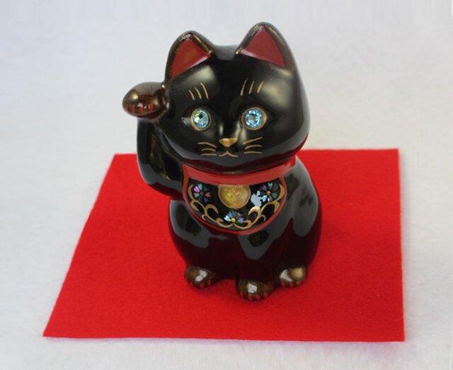 輪島塗招き猫 小黒の画像1枚目