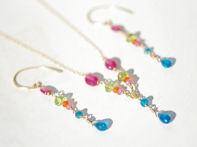 Ruby×Apatite colorful*Necklaceの画像1枚目