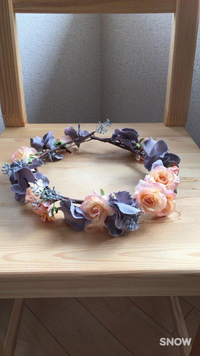 森の結婚式♡小さなバラのスウィート花冠の画像1枚目