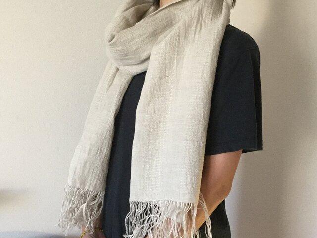 リネンの手織り ストールの画像1枚目