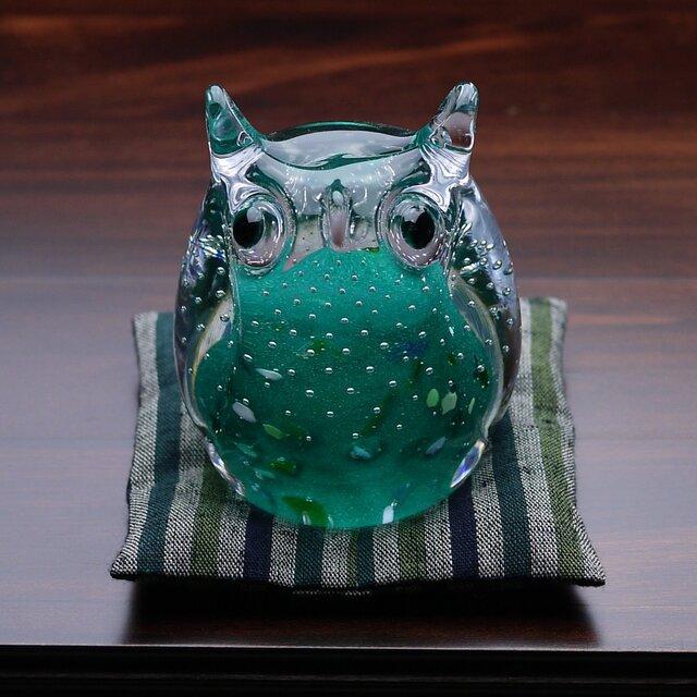 ふくろう(遠州織物の座布団付き)緑の画像1枚目