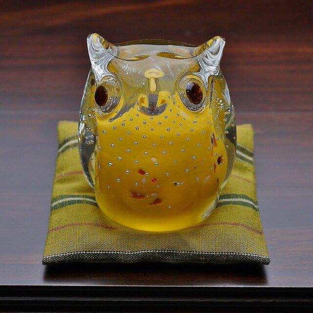ふくろう(遠州織物の座布団付き)黄色の画像1枚目