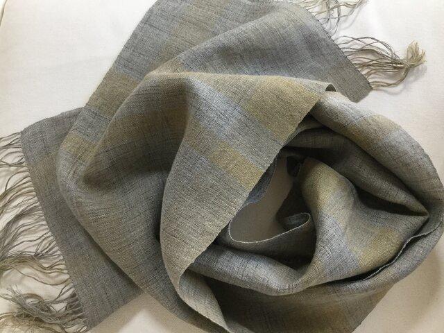 リネンの草木染め 手織りストールの画像1枚目