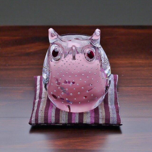ふくろう(遠州織物の座布団付き)ピンクの画像1枚目