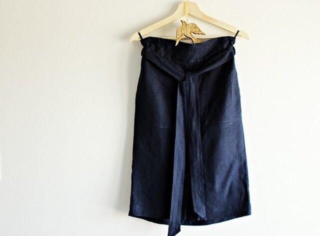 リネン シンプルタイトスカート ネイビーの画像1枚目