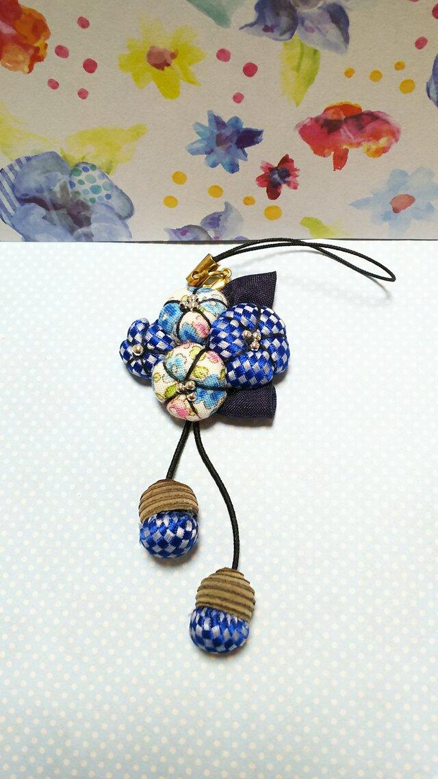 【割引】明るいブルー*花のどんぐり帽子のストラップの画像1枚目