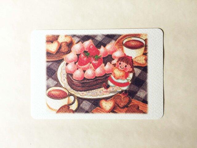 ハートのチョコケーキ ポストカードno.112の画像1枚目