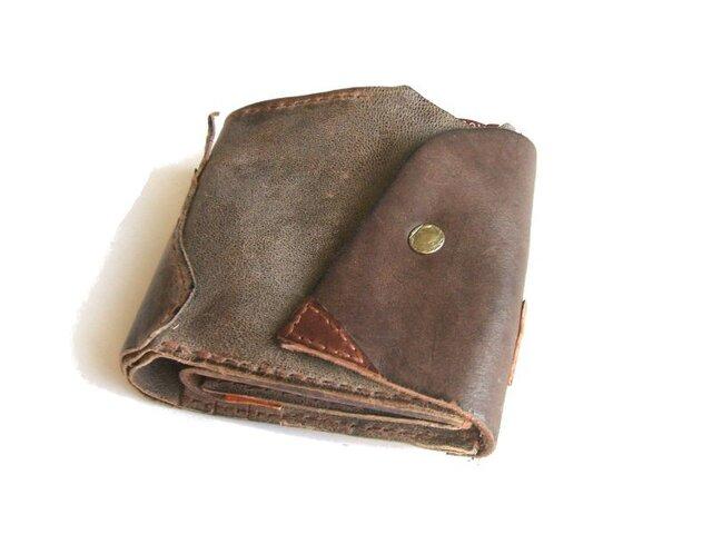 half wallet チャコールグレー×チョコ 二つ折り財布の画像1枚目