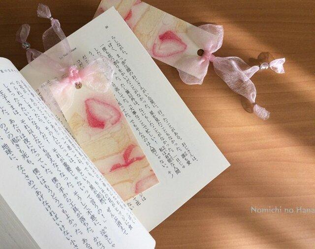 桃色リボンしおり2枚セット【C】ショートケーキの画像1枚目