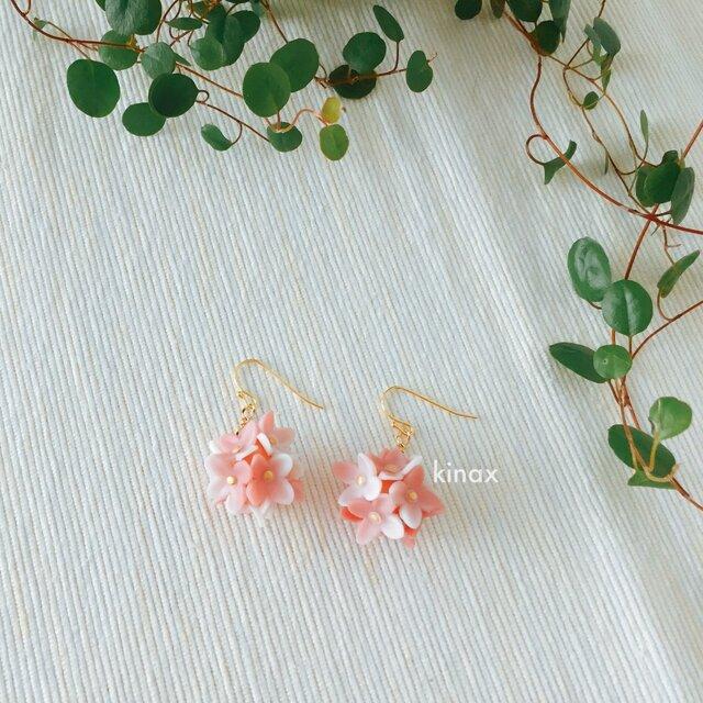 紫陽花のピアス ピンク系の画像1枚目