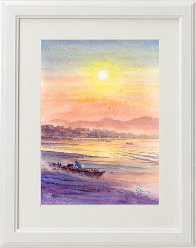 水彩画原画 靄の浜辺の画像1枚目