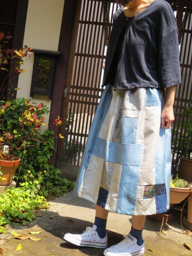 紬色々パッチして☆初夏を感じる爽やかブルー系スカートの画像1枚目