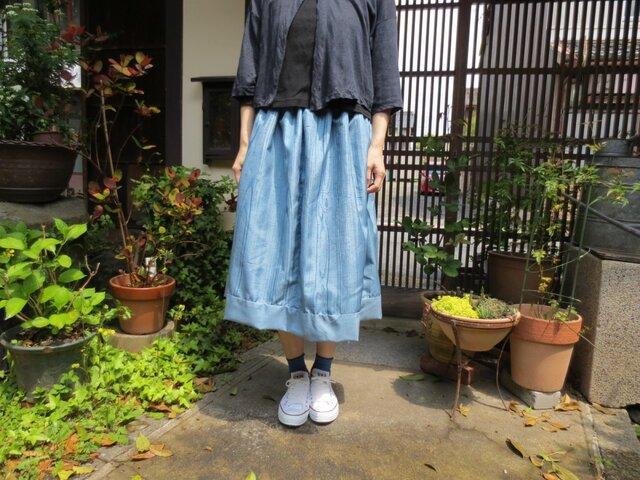 着物リメイク☆小川のせせらぎが聞こえる水色スカート♪の画像1枚目