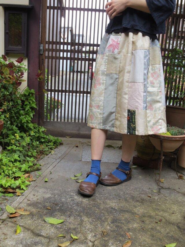 着物リメイク☆粋で可愛い紬のパッチで5月のスカートに♪の画像1枚目