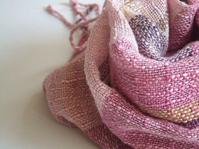 「再販」手織りシルクストール・・スプリングガーデンの画像1枚目