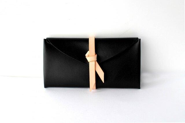ori long wallet / 折りロングウォレット #黒 x ベージュの画像1枚目
