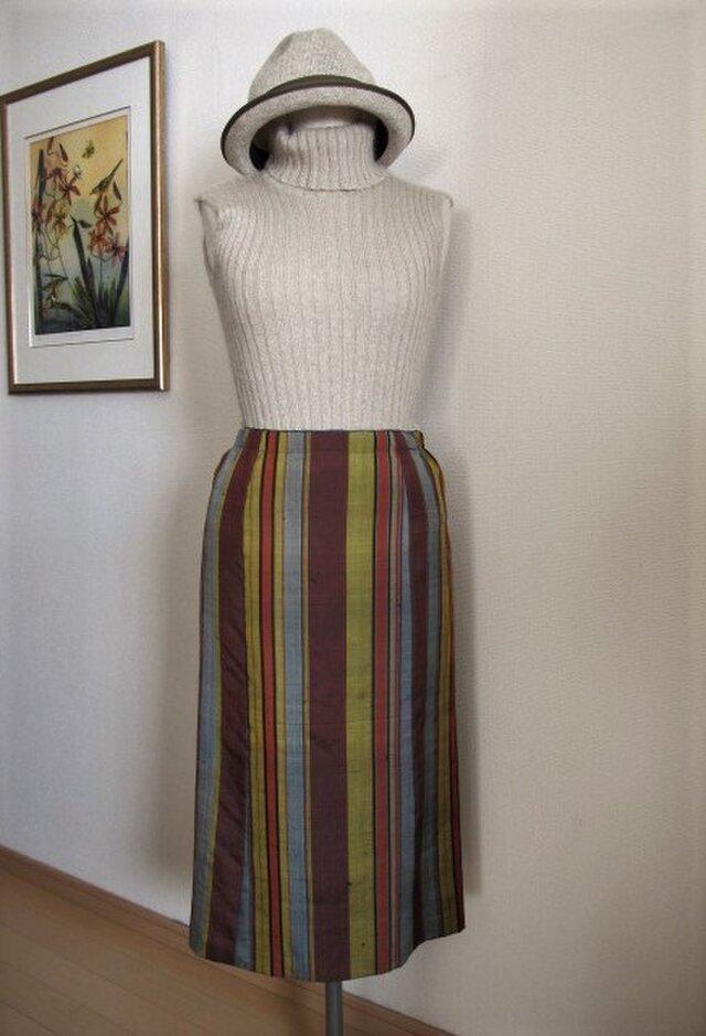 ストライプの紬地スカートの画像1枚目