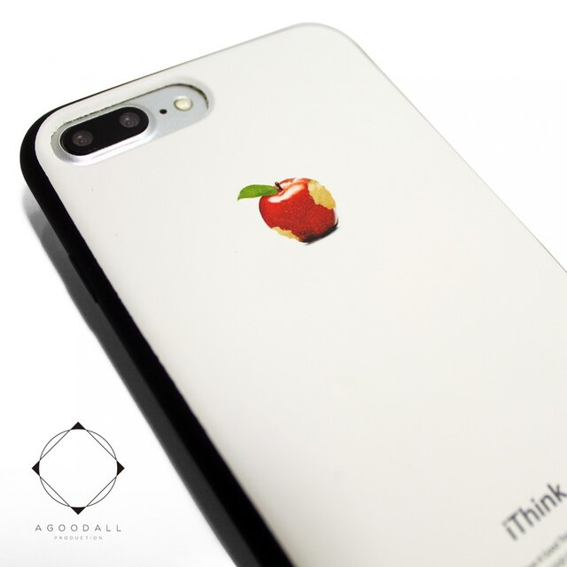 852a33e073 iphone7plusケース/iphone8plusケース(5.5インチ用)レザーケースカバー(オフホワイト)赤リンゴ