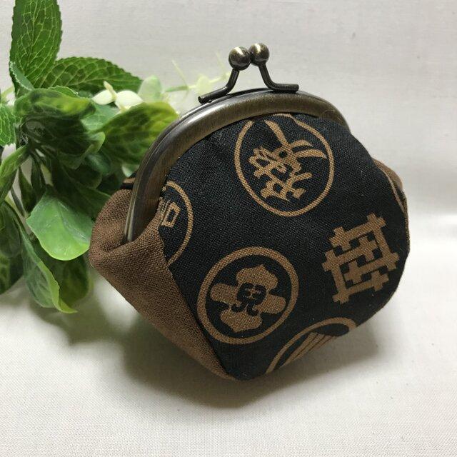 柿渋染め/ぷっくりミニがま口 家紋の画像1枚目
