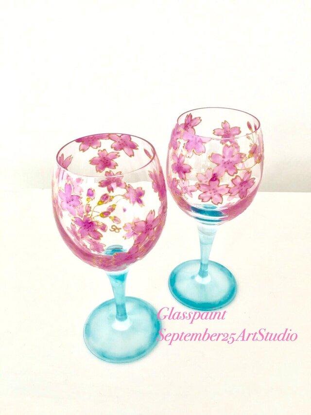 【桜ハンドメイド2017新作】桜ワイングラス1つの画像1枚目