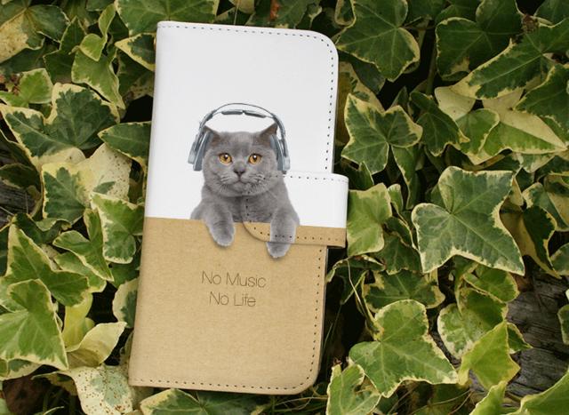 全機種対応 手帳型 スマホケース iPhoneXs iPhone9 猫 ブリティッシュだってNo Music No Lifeの画像1枚目