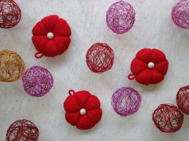 赤い和花のサシェ(3個セット)の画像1枚目