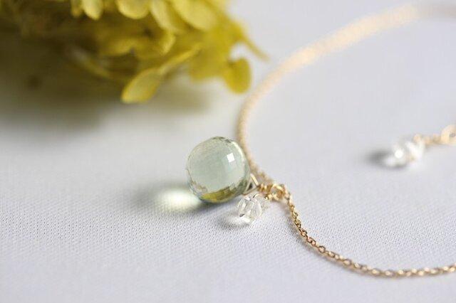 【K10】グリーンアメジストとハーキマーダイヤモンドのネックレス の画像1枚目