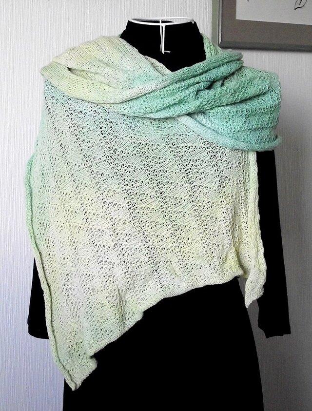 編み物:ウール・コットンのショールの画像1枚目