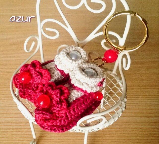 ミニ靴+靴下のキーホルダー ~赤い靴・深紅の画像1枚目