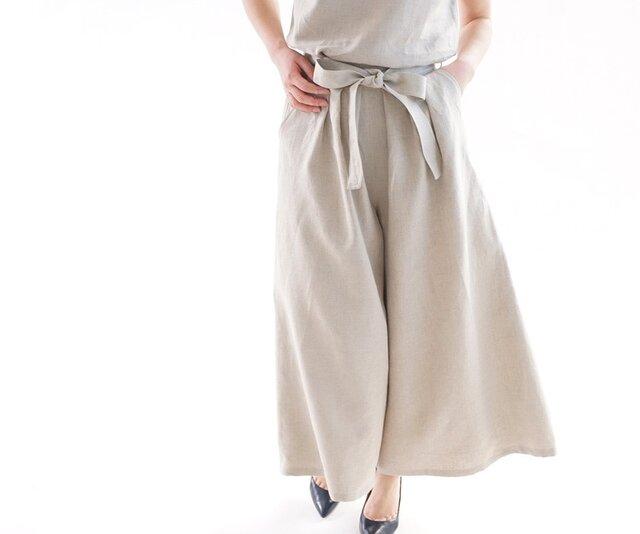 【wafu】中厚 リネン パンツ ワイドキュロット スカーチョ 紐付き 後ろゴム / 亜麻ナチュラル b006c-amn2の画像1枚目