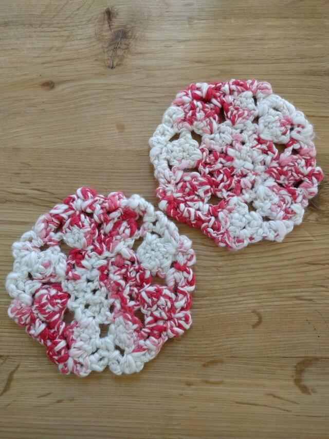 手編みコースター 赤色2枚組の画像1枚目