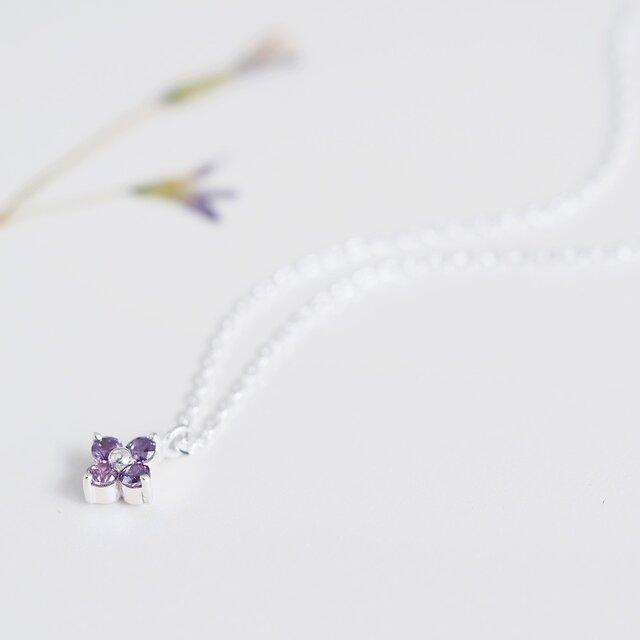 amethyst 紫 フラワー ネックレス シルバー925の画像1枚目