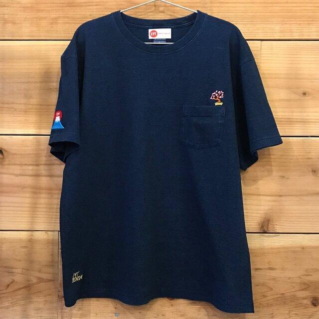 桜&富士山 刺繍 インディゴ染めTシャツ(ポケット付)の画像1枚目