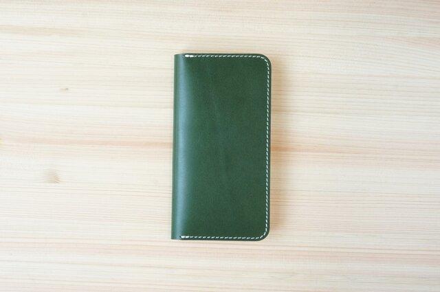 牛革 iPhone8/iPhone7カバー  ヌメ革  レザーケース  手帳型  グリーンカラーの画像1枚目