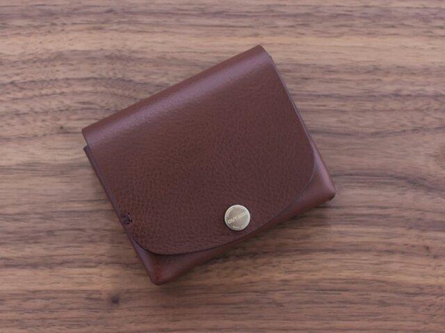 イタリア製牛革の二つ折り財布 / ダークブラウン ※受注製作の画像1枚目