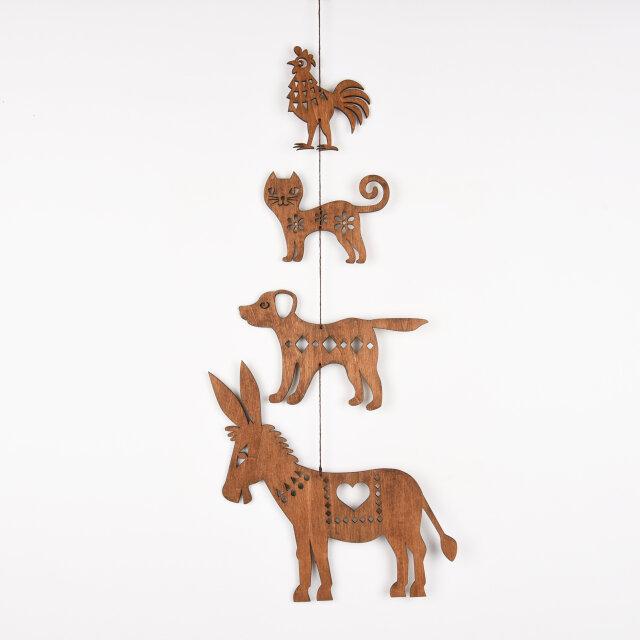 ブレーメンの音楽隊のガーランド(木の壁飾り)の画像1枚目