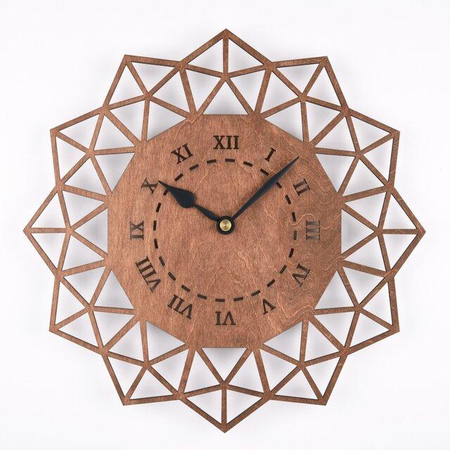 木の壁掛け時計B ペンタゴン(木製ウォールクロック)の画像1枚目