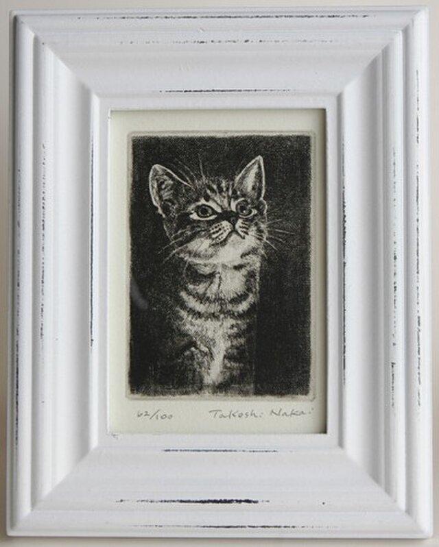 見上げる子猫・A/2004(額あり)の画像1枚目